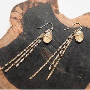 Handcrafted 18KGP Brass Cross Medallion Earrings